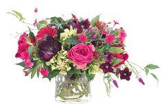 Rose Hydrangea, Fuchsia Green, Glass Cylinder, 20wx19dx14h KF054