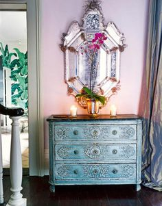 absolute gorgeousness- venetian mirror + turquoise detailed dresser+ soft lavender walls