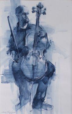 Cellist an original pastel work by Linda Hutchinson... inky blue cello