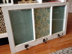 DIY Coat Rack From An Antique Window Frame. Could even put a picture above each hook to show who's it is.