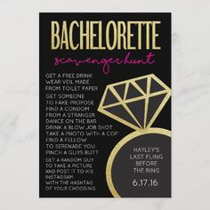 Bachelorette Party Game- Scavenger Hunt Invitation Chalkboard Wedding Invitations, Bachelorette Invitations, Classy Bachelorette Party, Extreme Diet, Bar Drinks, Diy On A Budget, How To Take Photos, Game Design, Healthy Choices