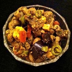 Roasted Eggplant, Aged Gouda Pesto Pasta Salad. MomsicleBlog