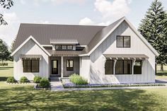 An appealing front porch and board and batten siding gives this 1-story Modern Farmhouse plan great curb appeal. Inside, guests are welcomed by a cathedral ceiling and a fireplace in the open great room/ kitchen concept.The L-shaped kitchen and island adjoin the dining area, which opens onto a rear covered patio.A generously-sized master suite has a cathedral ceiling and is tucked away for privacy. The master bath includes a large whirlpool tub, shower, compartmented toilet and walk-in close