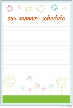 Modern Parents Messy Kids: POYEL: Summer Schedule - printing this out right now!