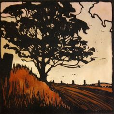 Autumn Evening Handpainted Linocut, Landscape, Country, Australia, Tree on Etsy, $60.00 AUD