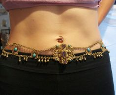 TURQUOISE AMETHYST 800 STERLING COIN SILVER ANTIQUE VINTAGE EGYPTIAN BELLY BELT