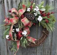 Holiday / Christmas Wreath / Grapevine Berry Wreath with Rustic Plaid / Natural Christmas Wreath / Horn's Handmade / Christmas Decoration Christmas Door Wreaths, Handmade Christmas Decorations, Noel Christmas, Holiday Wreaths, Rustic Christmas, Christmas Crafts, Outdoor Christmas, Winter Wreaths, Grapevine Christmas