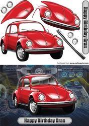 Gelukkige Verjaardag Gran Volkswagen Beetle Classic Car Rood