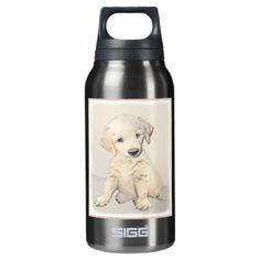#Golden Retriever Puppy Insulated Water Bottle - #golden #retriever #puppy #retrievers #dog #dogs #pet #pets #goldenretriever