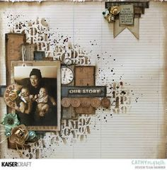 Layout by Kaisercraft designer. Heritage Scrapbook Pages, Vintage Scrapbook, Travel Scrapbook, Scrapbook Albums, Scrapbook Cards, Scrapbook Rooms, Scrapbook Layout Sketches, Scrapbooking Layouts, Mix Media