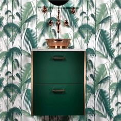 Genius Ikea Hack- IKEA washstand painted green paired with Herbeau Pompadour faucet & shelf in Polished Copper finish Ikea Hacks, Jungle Decorations, Tropical Bathroom, Botanical Wallpaper, Cole And Son, Jungle Pattern, Interior Decorating, Interior Design, Blog Deco