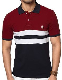 72077a00 ZEYO Classic Polo T Shirts for Men with Collar Regular Fit Red-Navy Half  Sleeve - Wedding Collections