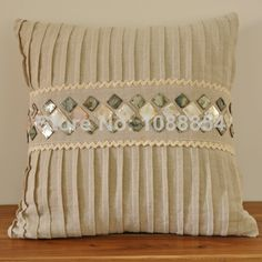 Free Shipping Embroidered Shell Lace Linen Cushion Cover, Handmade, Cool  Back Cushion,Throw
