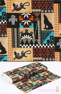 golden brown, black, white, orange and turquoise blue cotton fabric with patchwork design including coyotes, tortoises, lizards, birds and traditional Native American patterns with triangles, stripes, flowers etc., very high quality fabric, typical great Sykel Enterprises quality #Cotton #Animals #AnimalPrint #OtherAnimals #Insects #USAFabrics Native American Patterns, Native American Design, Orange And Turquoise, Blue Orange, Kawaii, Retro Fabric, Coyotes, Patchwork Designs, Tortoises