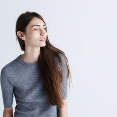 The '70s are back, and we can't get enough. Enter this slim ribbed top in a supersoft sweatery knit. We're especially digging the fresh elbow-length sleeves (read: this one's made for overalls). <ul><li>Fitted.</li><li>Extra-fine merino wool.</li><li>Dry clean.</li><li>Import.</li></ul>
