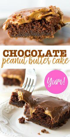 The BEST chocolate peanut butter cake recipe! Chocolate cake | brownie cake | peanut butter cake.