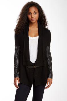 Ella Moss Faux Leather Cardigan by Ella Moss on @HauteLook