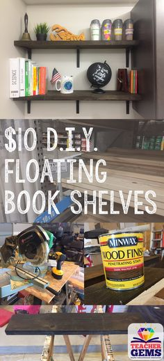 Learn how to make these beautiful D.I.Y. floating book shelves for under $10! No need to buy expensive floating shelves when you can easily build them yourself. All the details you need for how to build these and where to get the supplies are included. #diyfloatingbookshelf #diy #bookshelves #floatingshelves