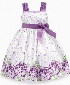 Rare editions children's dress, girl's dress with floral border print - Baby Dress Baby Dress Design, Baby Girl Dress Patterns, Little Dresses, Little Girl Dresses, Cute Dresses, Vintage Girls Dresses, Girls Easter Dresses, 1950s Dresses, Dress Girl