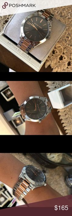 New Mk Watch 🎁 Perfect gift brand new Michael Kors Accessories Watches Mk Watch, Michael Kors Watch, Rolex Watches, Fashion Tips, Fashion Design, Cosmetics, Belize, Gifts, Accessories
