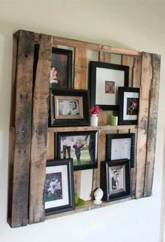 Cool photo shelf made from an old wood pallet