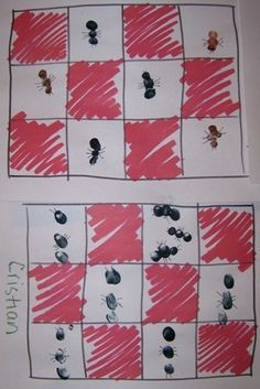 Cute picnic ant fingerprint ants- learn patterns and insects have 3 body segments