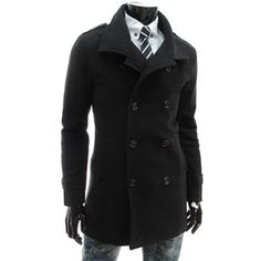 (JK31-BLACK) Slim Fit Double Breasted Button High Neck Wool Coat