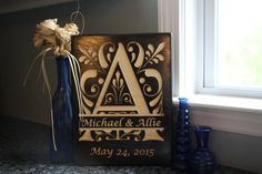 Family Name Anniversary Year Established Split Alphabet Engraved Wood Sign by EntropySigns
