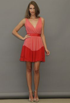 Two tone red and coral bridesmaid dress