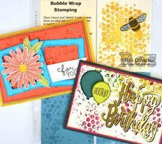 Stampin' Up! Bubble Wrap Techniques Class. Techniques classes held every month in Skye, VIC, Australia. Second Monday/Tuesday of the month. Cost is $25 to make 2 cards, a sample card and includes step by step instructions #stampinup #birthday #bubblewrapstamping #bigshot