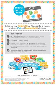 "PIN IT TO WIN IT Celebrate your Perskinality on Pinterest for a chance to win an iPad and a Perskinality kit! To enter:  1. Get a Perskinality here.  2. Follow Rodan + Fields on Pinterest.  3. Create a Pinterest board called ""My Perskinality""  that celebrates your Perskinality. It can include anything - food, fashion, travel, and of course, your skin. Make sure to tag each image with #perskinality.  4. Join your Perskinality Facebook group recommended and post a link to your Perskinality…"