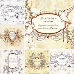 Vintage wedding invitations with doves set vector | CGIspread | Free download