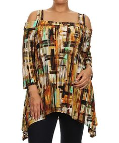 Look at this #zulilyfind! Mustard & Green Abstract Three-Quarter Sleeve Tunic - Plus by Come N See #zulilyfinds