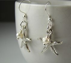 Beach Themed Wedding Jewelry, Bridesmaids Silver Starfish Earrings, Pearl, Bridal Jewelry M005. $19.00, via Etsy.