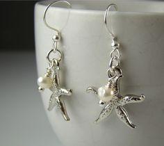 beach wedding jewelry  | Beach Themed Wedding Jewelry, Bridesmaids Silver Starfish Earrings ...