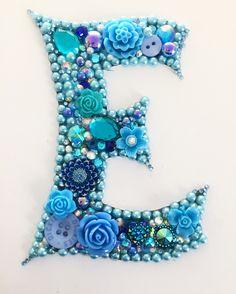 Initial letter E button art mixed media