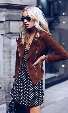 Hur man bär en klänning med en skinnjacka? #mode #klänning #skinnjacka #winterclotheswomen