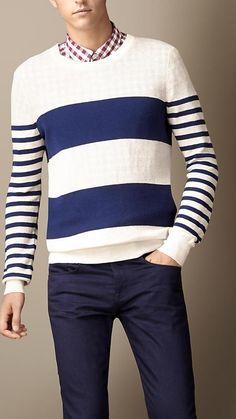 Burberry Brit Contrast Stripe Linen Silk Sweater