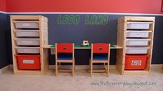 Great Idea!!!  ikea bookshelf on side as seating and storage | ... present to you...my Adjustable Height Lego Playtable and Storage Unit