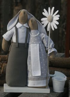 Купить Зайцы-неразлучники ( Петру и Февронии посвящается) - серый, зайцы, зайцы ручной работы