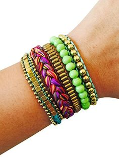 Fashion Bracelet for FitBit Avia or Misfit Activity Tracker  The ROSIE Colorful Beaded and Braided Snap Bracelet  Size ML  Activity Tracker Not Included ** Continue to the product at the image link. (Note:Amazon affiliate link)