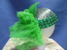 Fun Vintage Flapper, Irish, Mardi Gras, Hat with Sequins and Net! Green!
