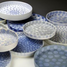 """391 Likes, 5 Comments - Mollie Bosworth (@molliebosworth) on Instagram: """"Piling up a group of blue trays for an installation. #wheelthrown #bluespots…"""""""