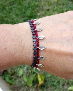 #matte #hematite #ruby #semiprecious #leaves🍃 #autumn Handmade Jewelry, Beaded Bracelets, Leaves, Autumn, Instagram, Fashion, Moda, Handmade Jewellery, Fall Season