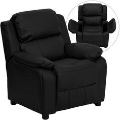 Flash Furniture Deluxe Padded Contemporary Black Leather Kids Recliner with Storage Arms [BT-7985-KID-BK-LEA-GG]
