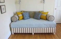 Upolster box springs & add feet to make a full size daybed (add 2x4 frame b4 upholstery to strengthen)