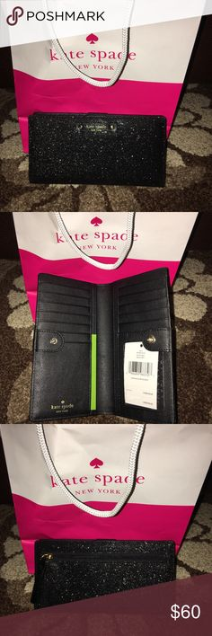 New Kate Spade glittery black Stacey wallet! Comes from a smoke free home! Brand new with tags! Black glittery Stacey wallet! kate spade Bags Wallets