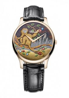 Chopard turns to the ancient arts of Urushi lacquer painting and Make-i gold dusting to create the L.C XP Urushi Year of the Monkey watch in honor of the Chinese New Year that begins on February Rihanna, Hermes Watch, Year Of The Monkey, Cute Monkey, Chopard, Cat Jewelry, Jewellery, Beautiful Watches, Chinese New Year