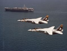 F-14A Tomcats - VF-84 The Jolly Rogers & (CVN-88) USS Nimitz (1980's). The F-14's first movie appearance wasThe Final Countdown...'splash the Zeros'