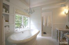 Modern take on traditional bath: octagonal tile, wainscoting, and TUB!